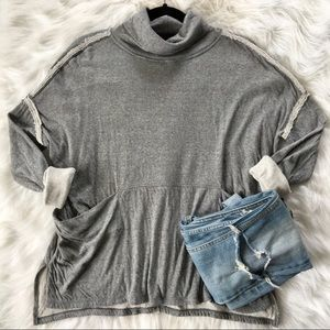 Free People Reverse Seam Cowl Neck Pullover