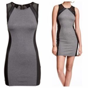 H&M Gray and Black Leather Dress