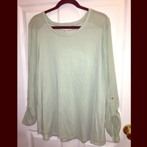 Forever 21 Mint Green Sweater With Blouse Sleeves