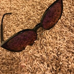 Blue pink reflect oversized cat eye sunglasses
