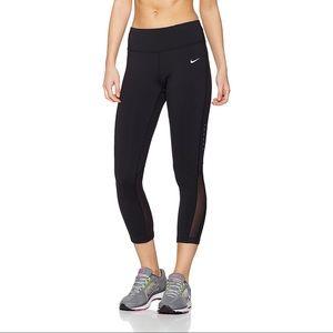 New Nike Epic Run Crop Mesh Tights in Black