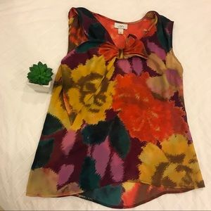 Loft watercolor blouse with ribbon detail