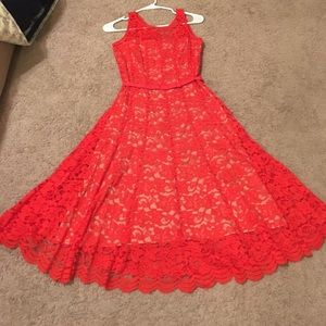 Taylor Coral Red Lace Dress