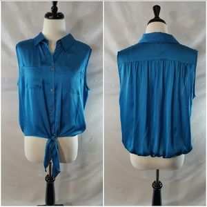 Teal Tie-up Blouse