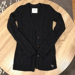 Abercrombie & Fitch Dark Blue Cable Knit Cardigan