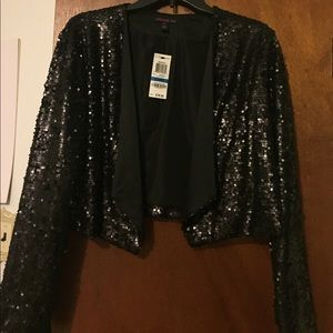 Cropped Black sequined jacket new with tags