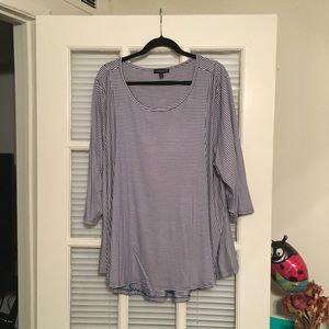Lane Bryant Size 26/28 Blue and White Striped