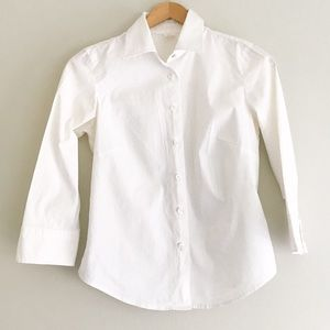 J. Crew 3/4 Sleeve White Button-Up Blouse