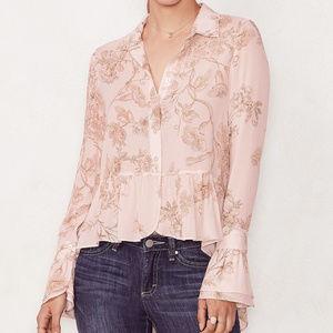 Lauren Conrad Floral Ruffle High Low Hem Blouse