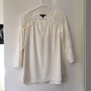 ONLY WORN ONCE white top with lace sleeves