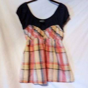 New Western Country Plaid Babydoll Top L Jr