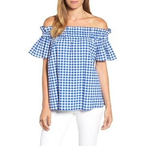 NEW Pleione Ruffle Off Shoulder Gingham Blouse