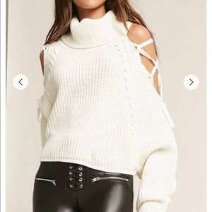 Lace Up Turtle Neck Sweater