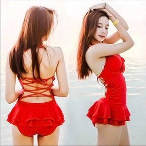 Sexy red one piece swimming suit