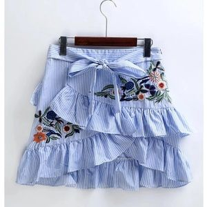 Blue floral embroidery striped skirt