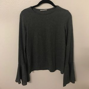 Zara grey fitted/ribbed bell long sleeve top