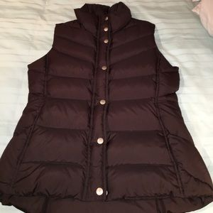 NWOT J. Crew chocolate goose down vest size small