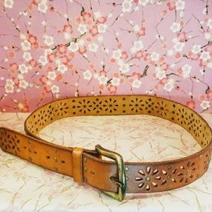Accessories - Brown floral cowboy leather medium belt