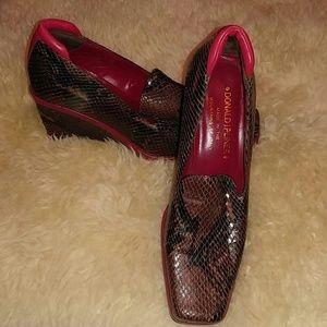 Donald J. Pliner Snakeskin and Red Leather Wedges