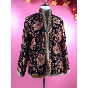 Vtg 80s Floral Embroidered Vegan Fur Boho Coat M