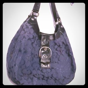 hobo style bag navy blue with metallic shimmer