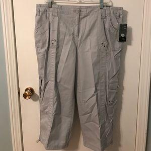 NEW Style & Co. Midrise Capri Cotton Pants Grey