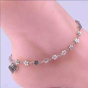 Silver Heart Anklet-Ankle Bracelet