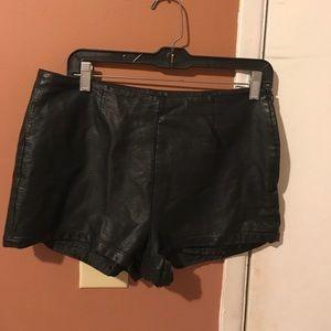 Stylish black leather shorts