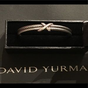 David Yurman Diamond X Double Cable Bracelet