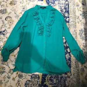 ruffled emerald green button down blouse