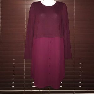 Knit shirt dress , half chiffon