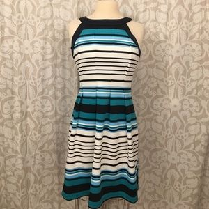 Enfocus Studio teal/black/white stripe dress