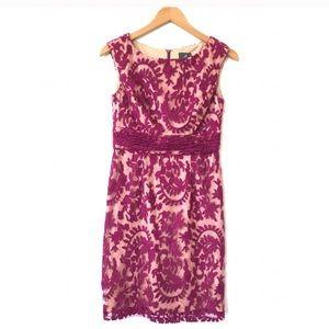 Adrianna Papell dress 2 petite fuscia lace purple