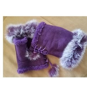 Purple Faux Fur Fingerless Gloves