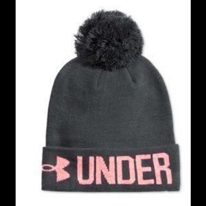 Under Amour graphite pom-pom beanie NEW