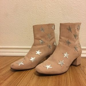 Pink Star Faux Suede Boots