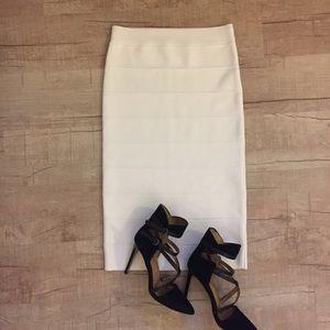 White bandage bodycon skirt