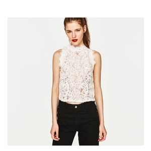 Zara White Lace Top