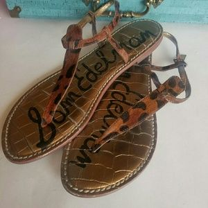 Sam Edelman leopard print calf hair sandals 8M