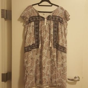Embroidered Flutter-Sleeve Dress