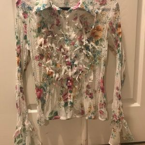 Dainty Ivory Floral Print Fringed Blouse