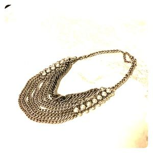 Bib statement multi chain layered silver necklace