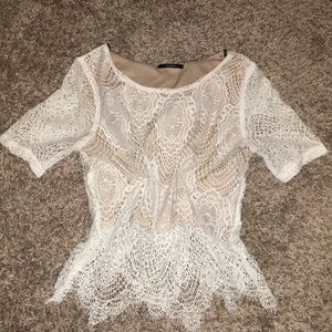 Lace White Lined Crop Top Small