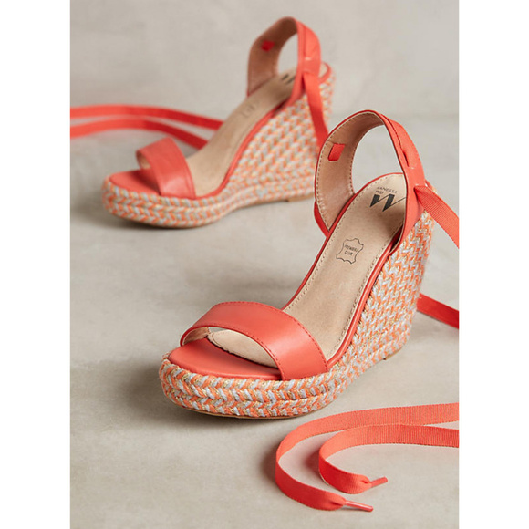 db7341b43b77 ANTHROPOLOGIE Vanessa Wu Coral Wedge Sandals Shoes