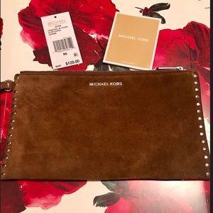 Michael Kors ASTOR Dk Lg Zip Clutch Leather suede