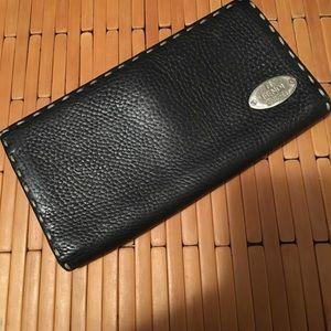Fendi black wallet selleria pre-owned leather