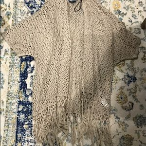 Knit short sleeved taupe long cardigan