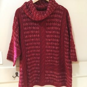 Lucky Brand red chunky sweater with cowl neck