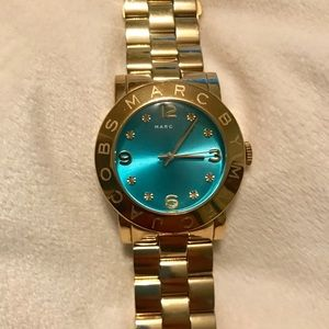 Marc by Marc Jacobs Blue Dial Gold Tone Watch