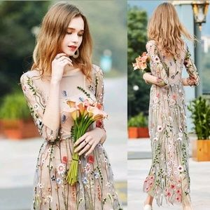 Women embroidered lace Floral long maxi